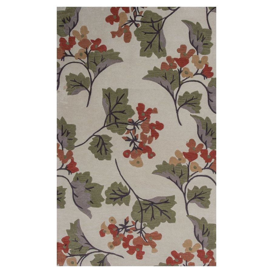 KAS Rugs Elegant Transitions Ivory and Green Rectangular Indoor Tufted Area Rug (Common: 8 x 10; Actual: 96-in W x 120-in L)