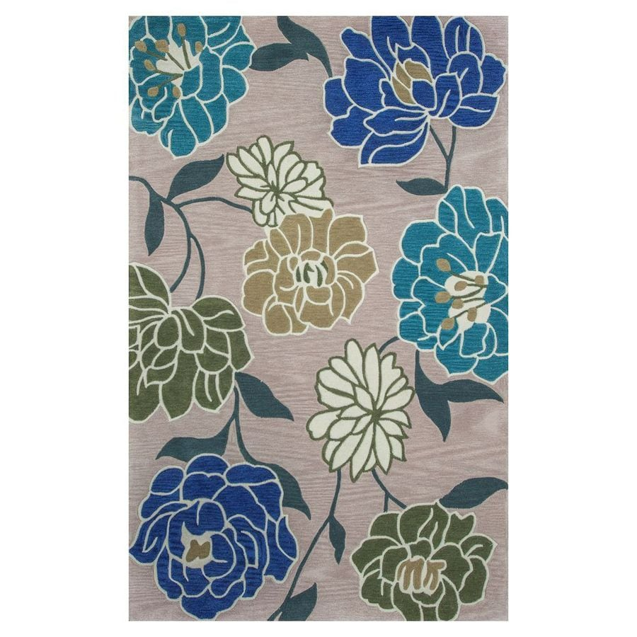 KAS Rugs Elegant Transitions Beige and Blue Rectangular Indoor Tufted Area Rug (Common: 8 x 10; Actual: 96-in W x 120-in L)