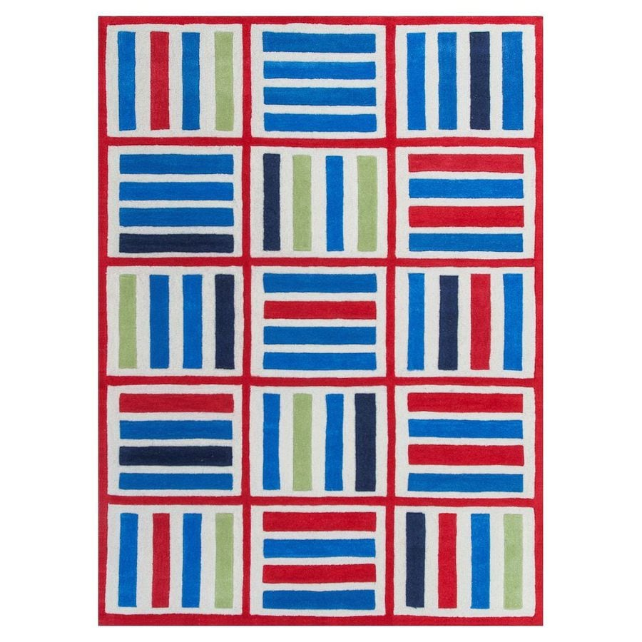 KAS Rugs Playful Patterns Blue Rectangular Indoor Tufted Area Rug