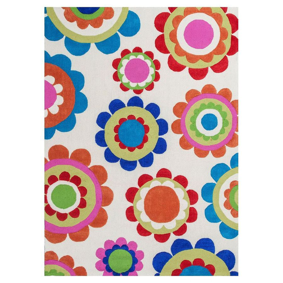 KAS Rugs Playful Patterns Cream Rectangular Indoor Tufted Area Rug (Common: 8 x 10; Actual: 90-in W x 114-in L)