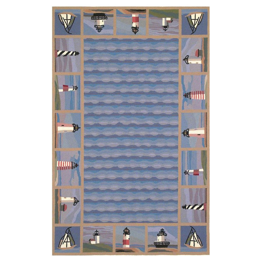 KAS Rugs Classy Casual Rectangular Indoor Hand-Hooked Area Rug (Common: 4 x 6; Actual: 3.5-ft W x 5.5-ft L)