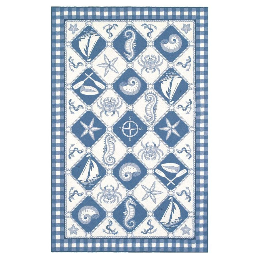 KAS Rugs Classy Casual Blue Rectangular Indoor Hand-Hooked Area Rug (Common: 5 x 8; Actual: 5.25-ft W x 8.25-ft L)