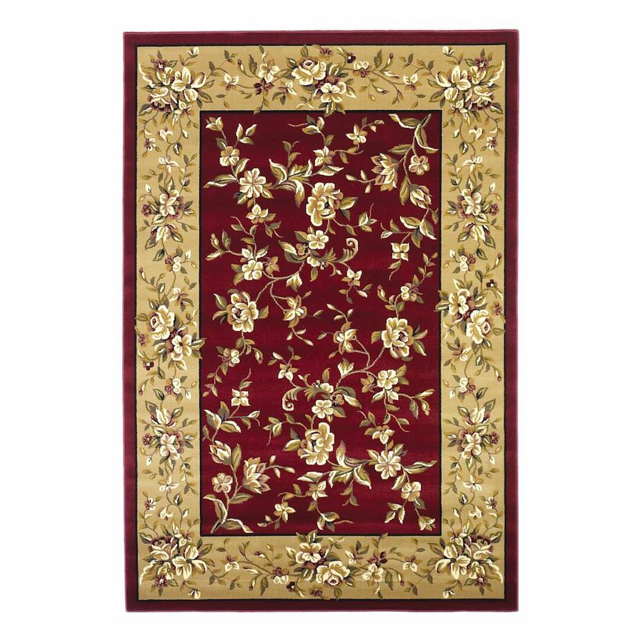 KAS Rugs Red Rectangular Indoor Woven Oriental Area Rug (Common: 8 x 11; Actual: 7.58-ft W x 10.83-ft L)