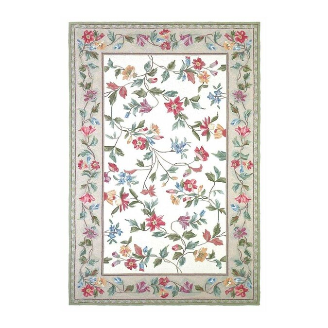 KAS Rugs Classy Casual Rectangular Cream Floral Hand