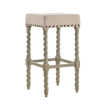 Astonishing Carolina Cottage Barley Twist Linen Weathered Gray Bar Stool Ncnpc Chair Design For Home Ncnpcorg