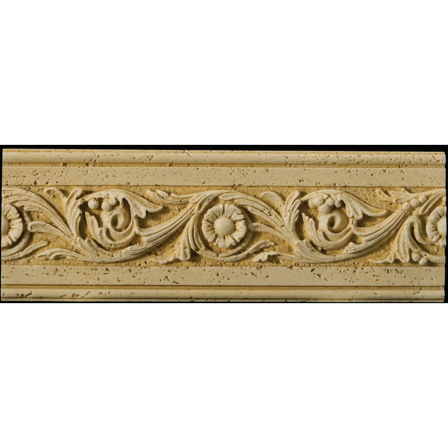 Emser 4-in x 12-in Romansa Tralcio Beige Moulding Natural Travertine Wall Tile