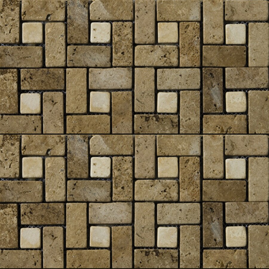 Shop emser 12 in x 12 in pinwheel mount mocha and beige natural emser 12 in x 12 in pinwheel mount mocha and beige natural travertine wall dailygadgetfo Choice Image