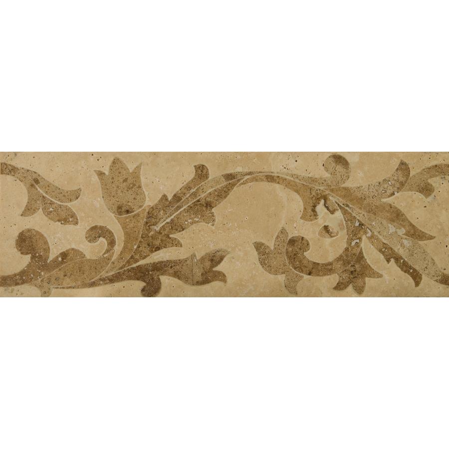 Emser 4-in x 12-in Porto Waterjet Listello Natural Travertine Floor Tile
