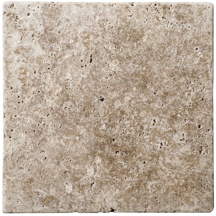 Emser 16-in x 16-in Fontane Walnut Class Unfilled and Tumbled Natural Travertine Floor Tile