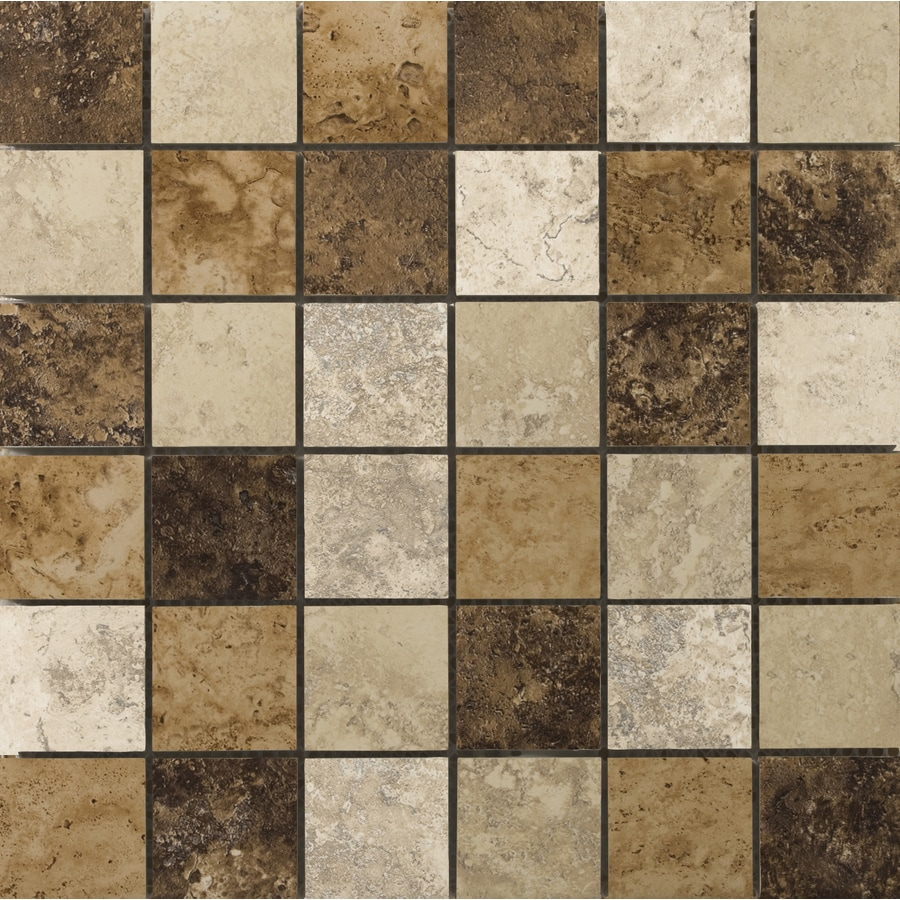 Shop emser taverna mosaic blend uniform squares mosaic porcelain floor and wall tile common 13 - Lowes floor tiles porcelain ...