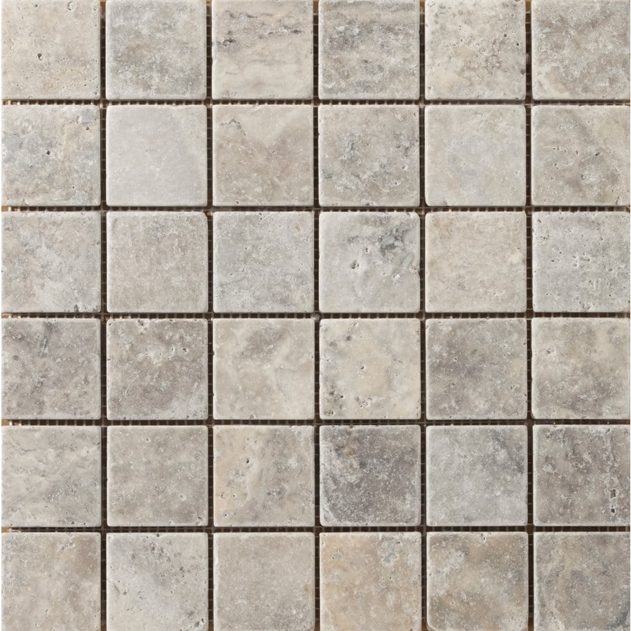 Emser Ancient Tumbled Silver Travertine Border Tile (Common: 12-in x 12-in; Actual: 12-in x 12-in)