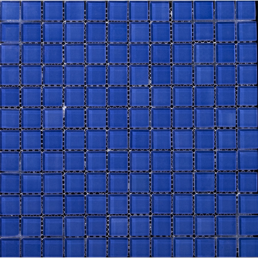 Shop Emser Lucente Azul Royale Glass Mosaic Square Wall Tile (Common ...
