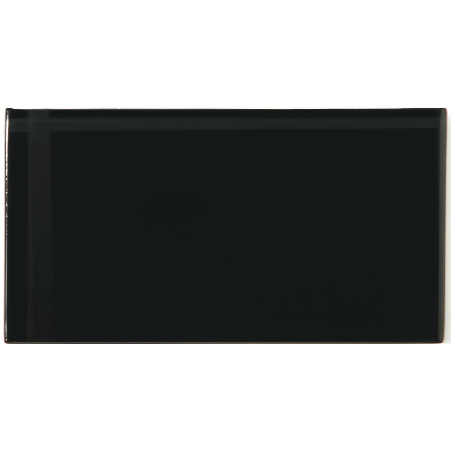 Emser Lucente Noir Glass Wall Tile (Common: 3-in x 6-in; Actual: 3.15-in x 6.43-in)