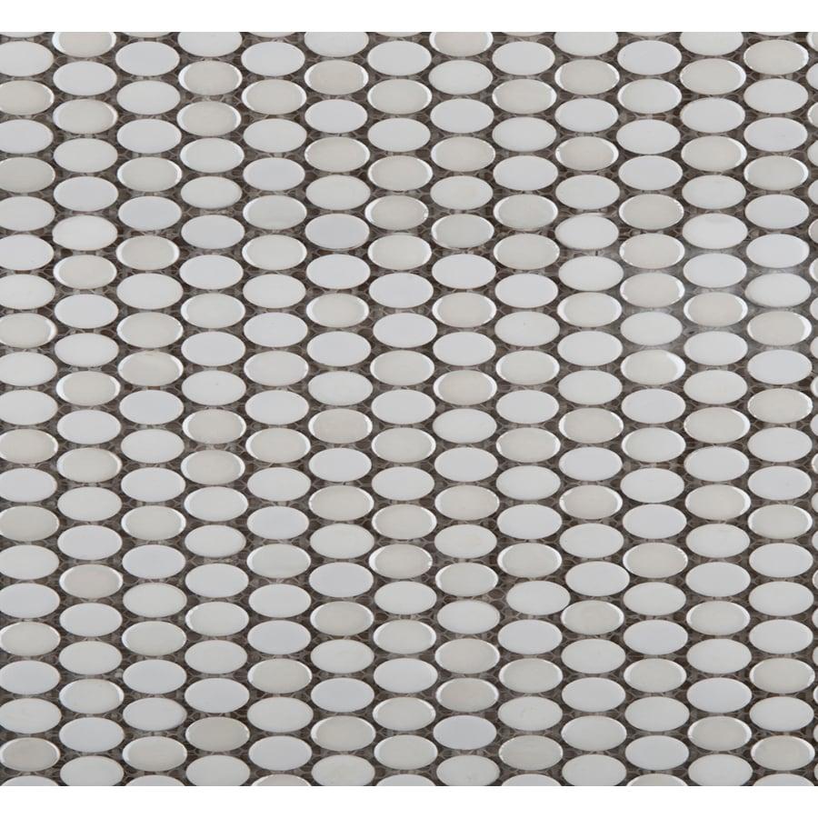 Shop emser confetti oval white glazed porcelain mosaic squares emser confetti oval white glazed porcelain mosaic squares floor tile actual 1181 in dailygadgetfo Choice Image