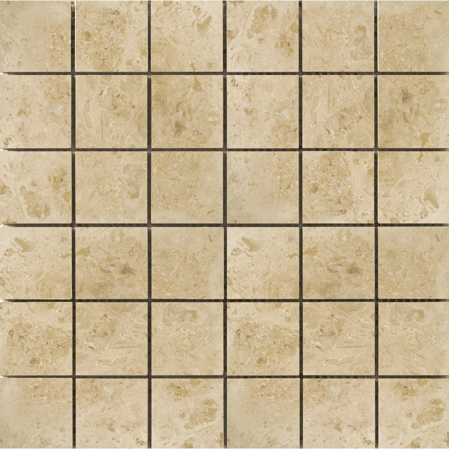 Emser Pendio Beige Uniform Squares Mosaic Travertine Floor and Wall Tile (Common: 12-in x 12-in; Actual: 12-in x 12-in)