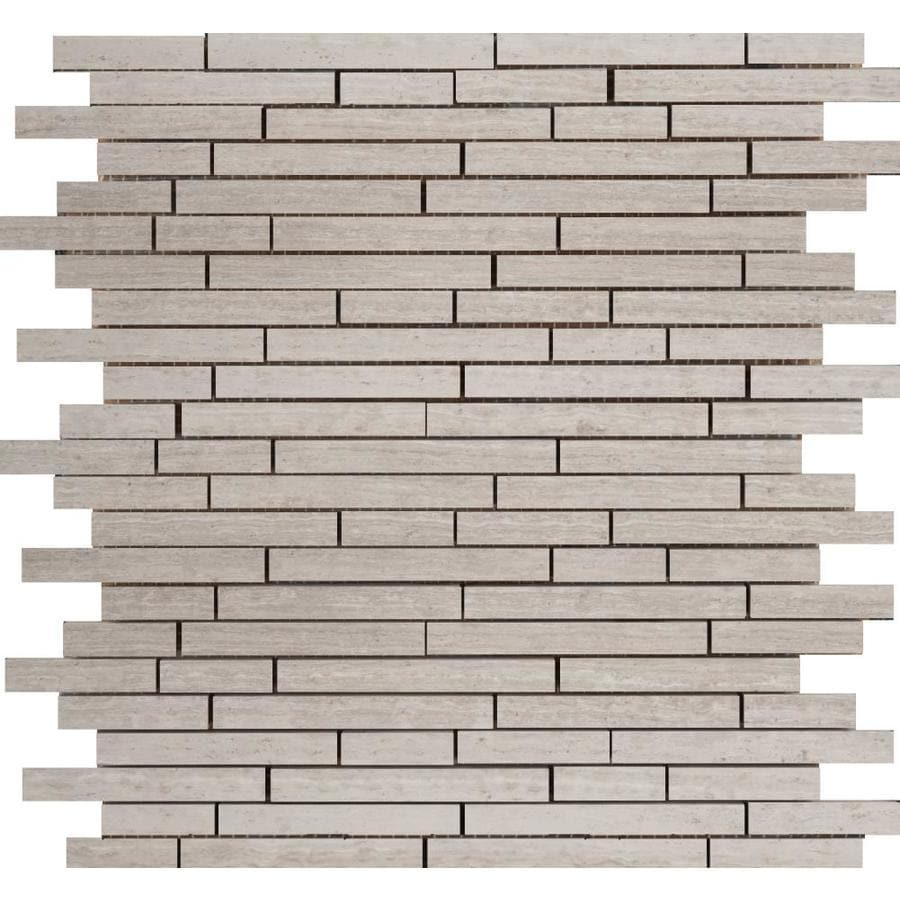 Emser Metro Cream Linear Mosaic Marble Floor And Wall Tile (Common: 13-in x 13-in; Actual: 12.41-in x 12.42-in)