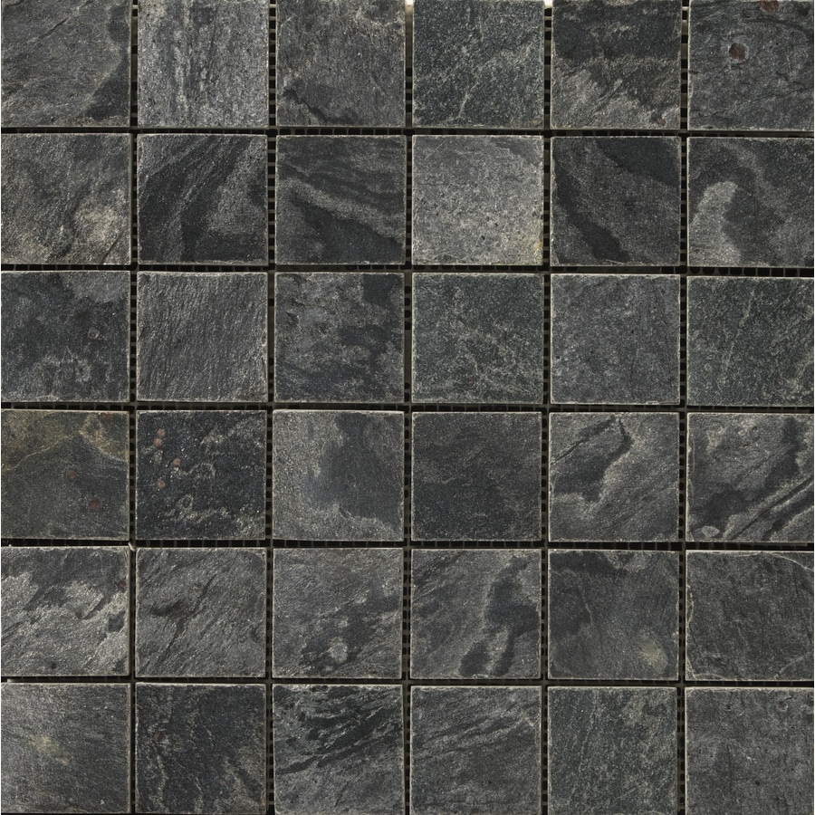 Shop Emser 12 In X 12 In Silver Gray Natural Slate Floor Tile At