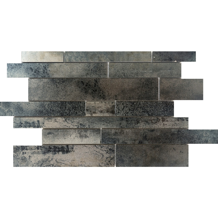 Emser ALCHEMY Silver Porcelain Border Tile (Common: 12-in x 18-in; Actual: 12.41-in x 18.98-in)