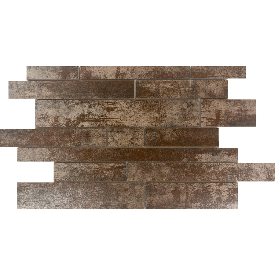 Emser Alchemy 8-Pack Copper Linear Mosaic Porcelain Floor and Wall Tile (Common: 12-in x 18-in; Actual: 11.77-in x 18.98-in)