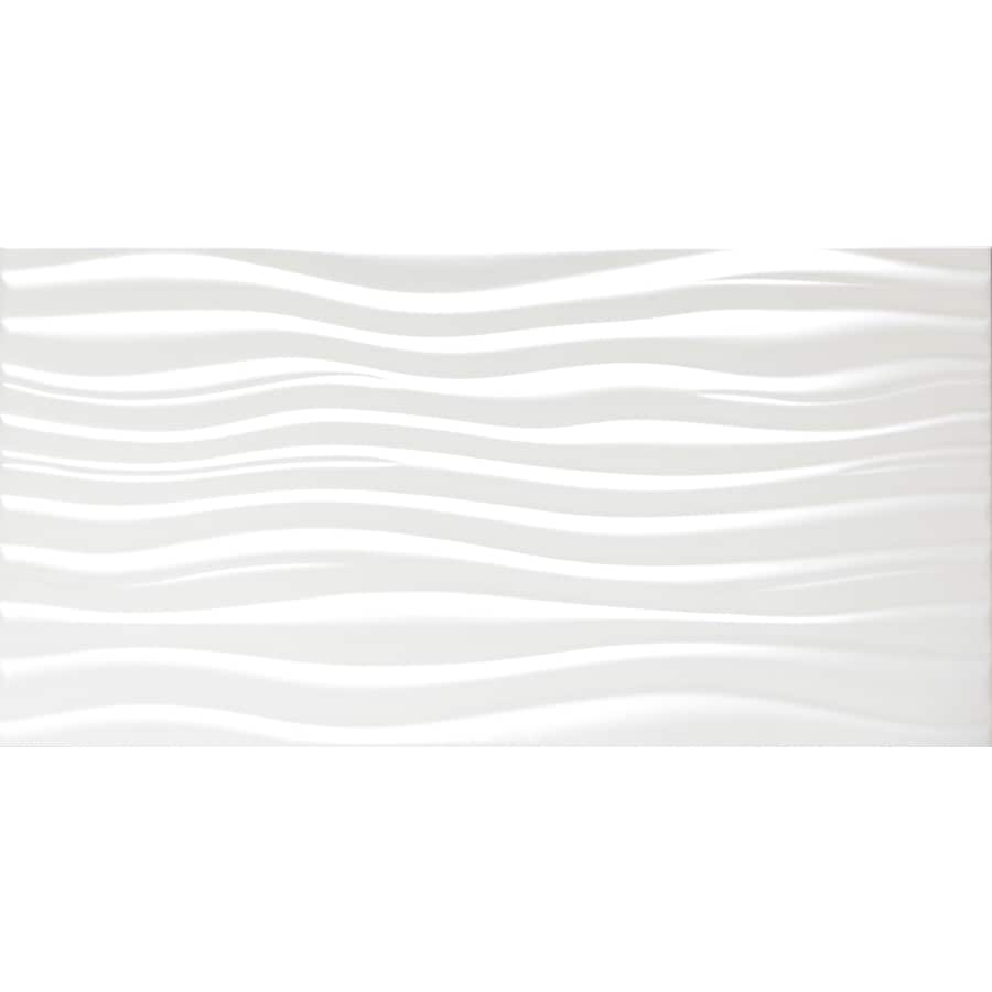 Emser JAZZ 8-Pack White Ceramic Wall Tile (Common: 12-in x 24-in; Actual: 23.62-in x 11.81-in)