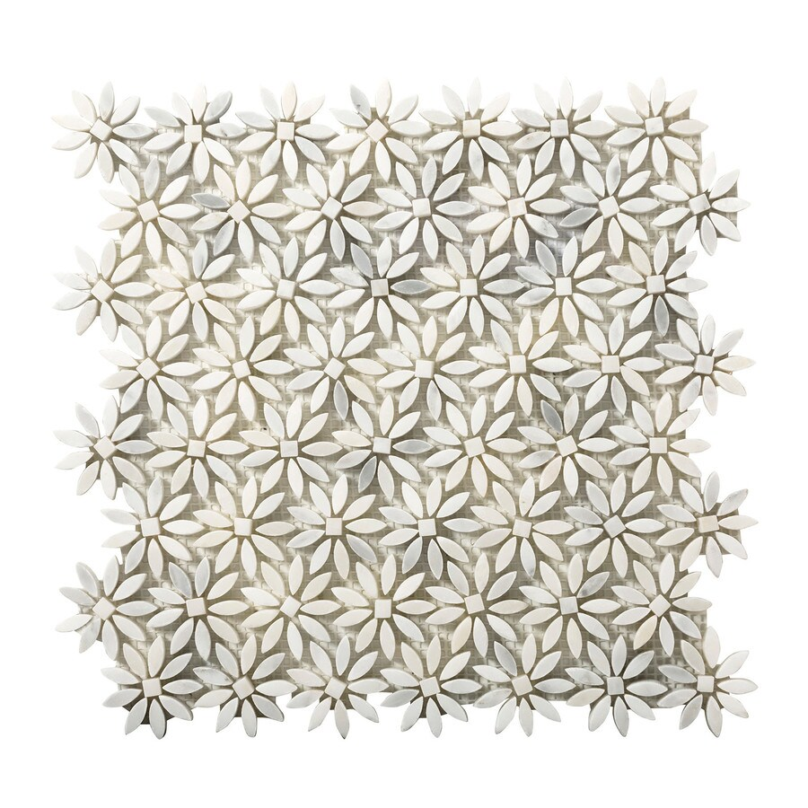 Emser Winter Frost Marble Border Tile (Common: 12-in x 12-in; Actual: 13-in x 12-in)