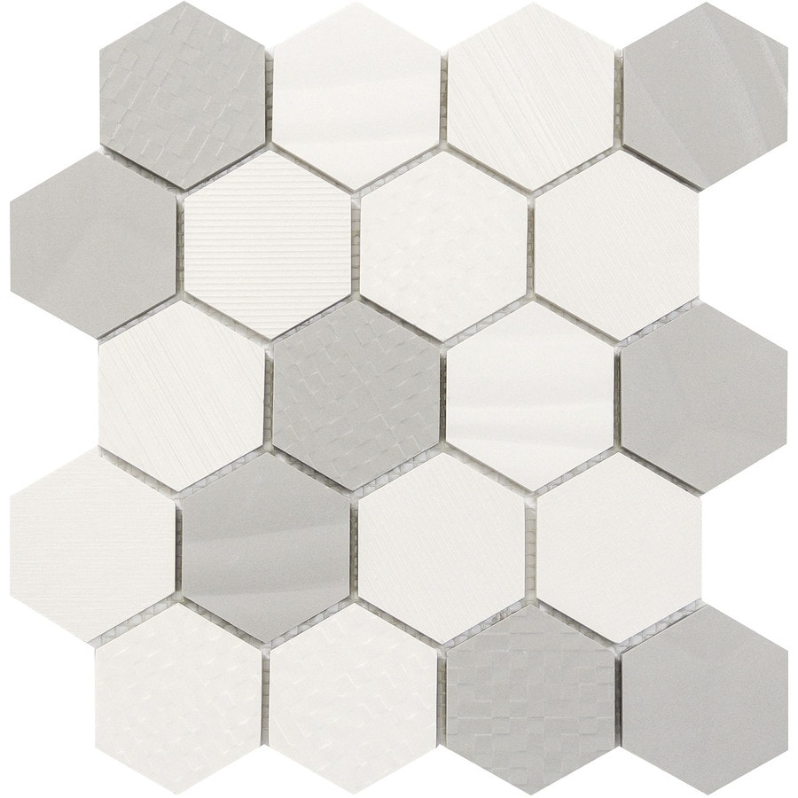 Emser SURFACE White/Gray Porcelain Border Tile (Common: 12-in x 14-in; Actual: 11.81-in x 13.58-in)