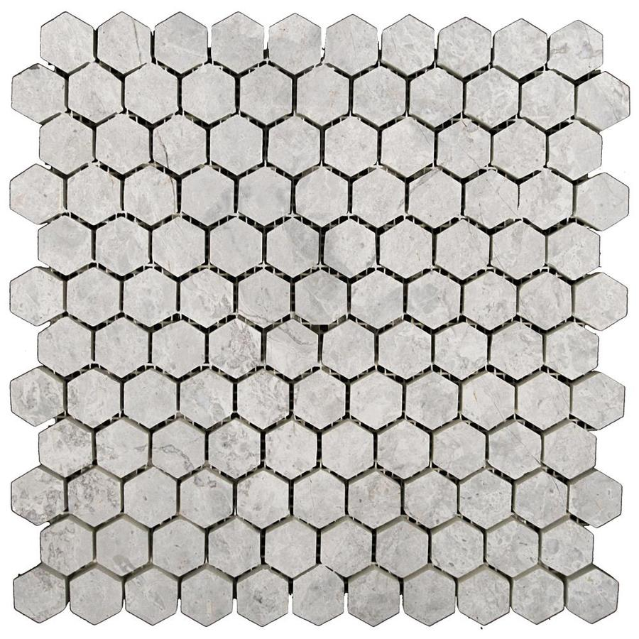 Shop Emser Silver Hexagon Mosaic Marble Floor And Wall Tile Common