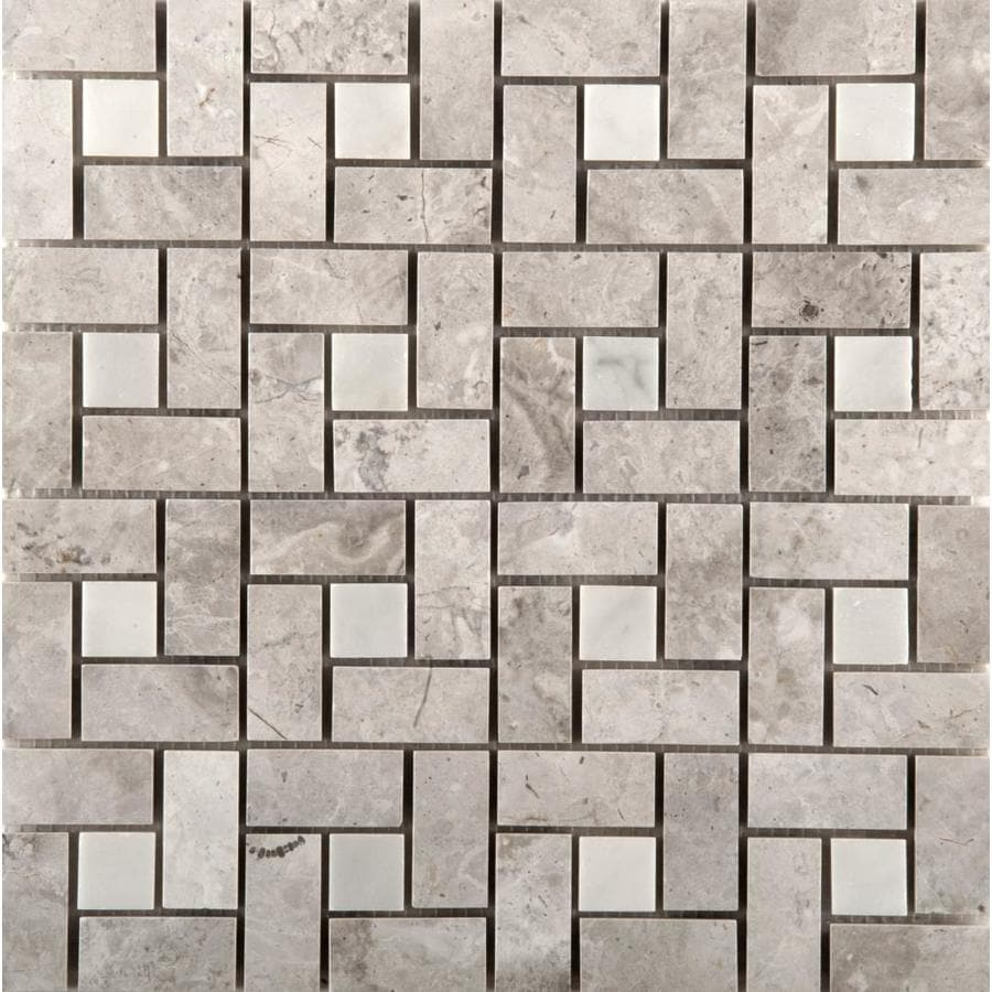 Shop Emser Silver Pinwheel Mosaic Marble Floor And Wall Tile Common