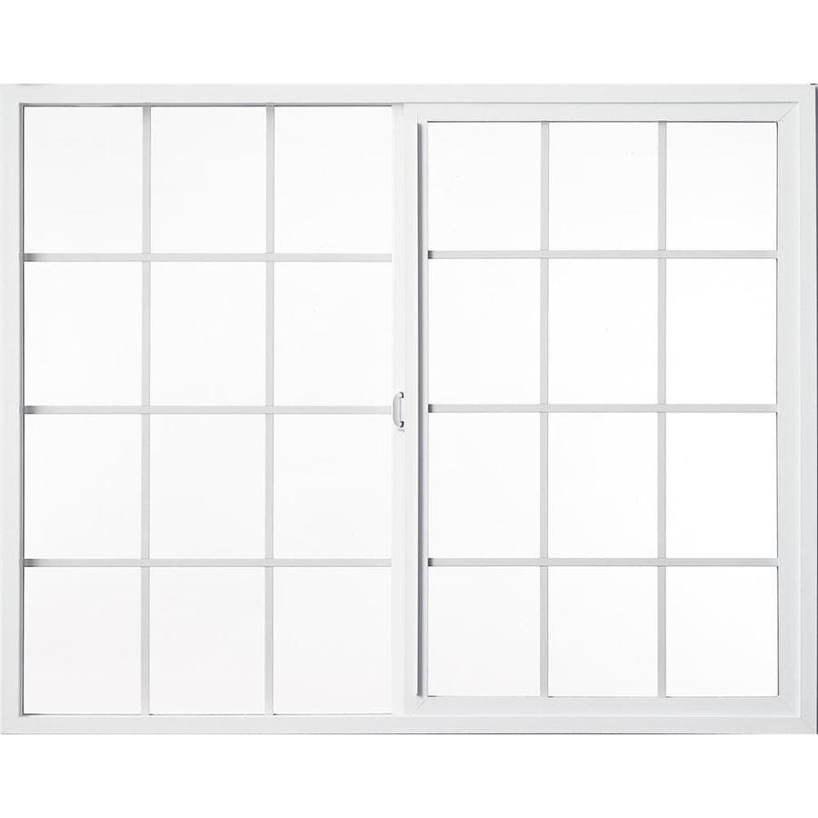 Milgard Style Line Left-Operable Vinyl Double Pane Single Strength New Construction Egress Sliding Window (Rough Opening: 48-in x 48-in; Actual: 47.5-in x 47.5-in)