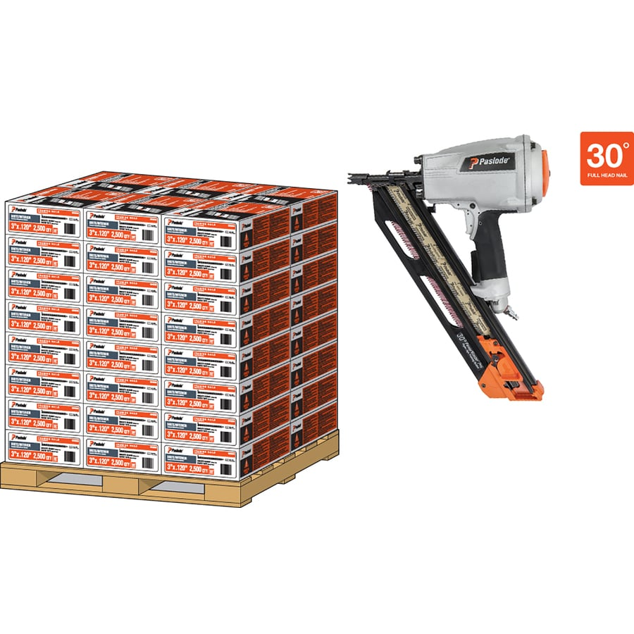 Paslode 120000-Count 3.25-in Framing Pneumatic Nails Pallet with Nailer