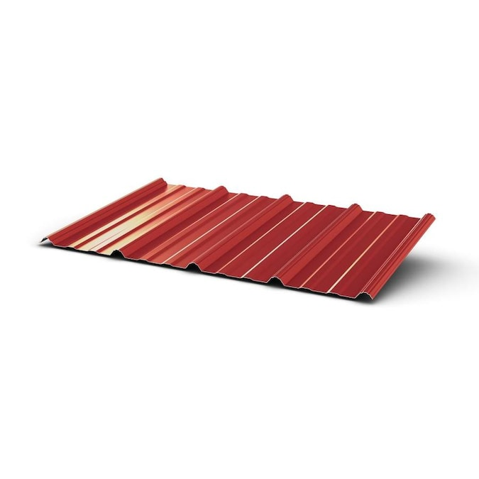 Union Corrugating 3 17 Ft X 8 Ft Ribbed Red Steel Roof Panel In The Roof Panels Department At Lowes Com