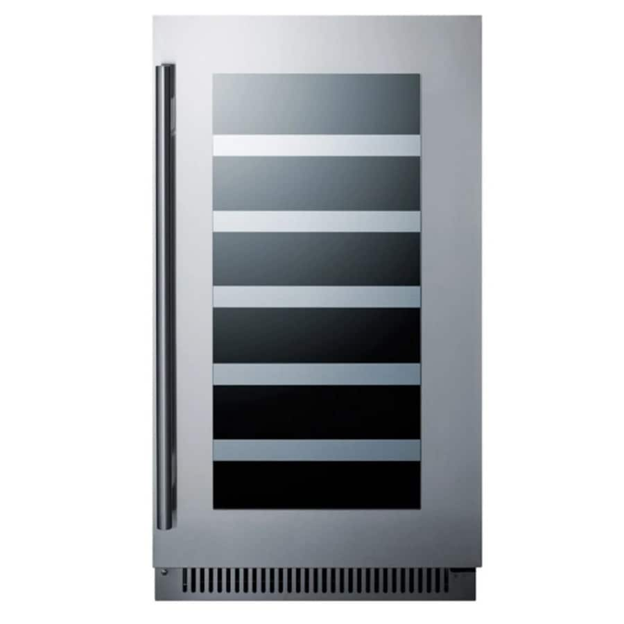 Summit Liance 29 Bottle Capacity Stainless Steel Trimmed Gl Door And Black Cabinet Built