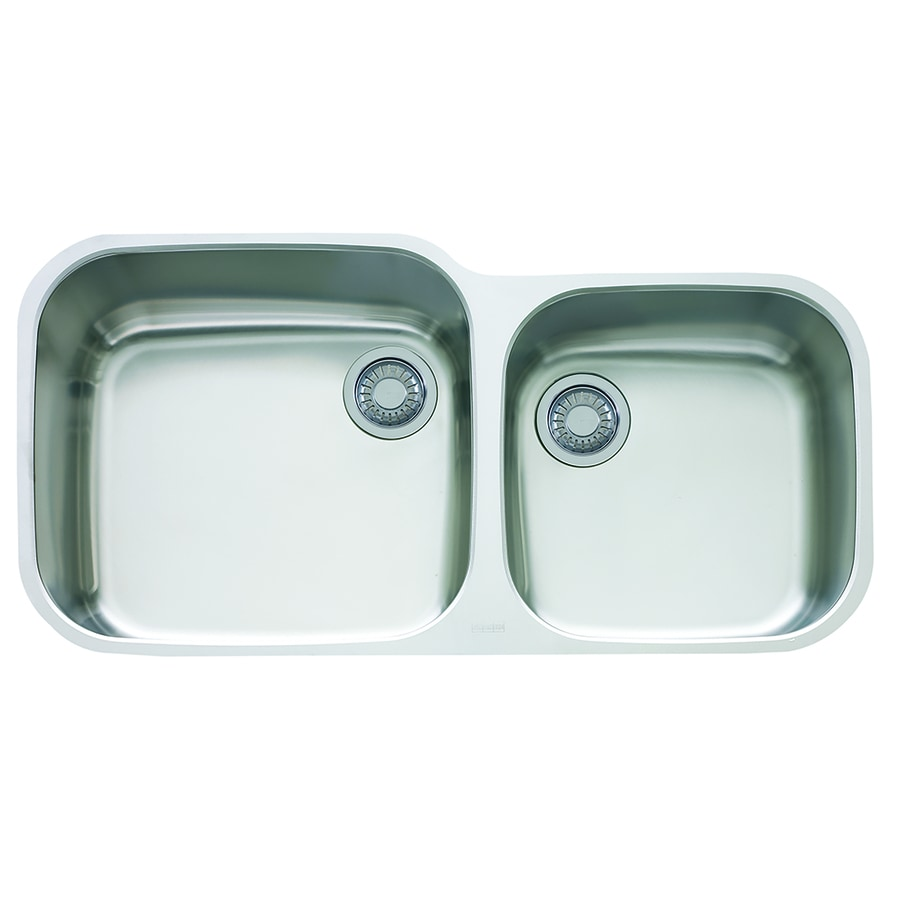 Franke Europro 19.25-in x 38.375-in Double-Basin Stainless Steel Undermount Residential Kitchen Sink