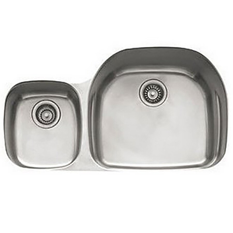 Franke Prestige 20.5-in x 35.625-in Double-Basin Stainless Steel Undermount Residential Kitchen Sink