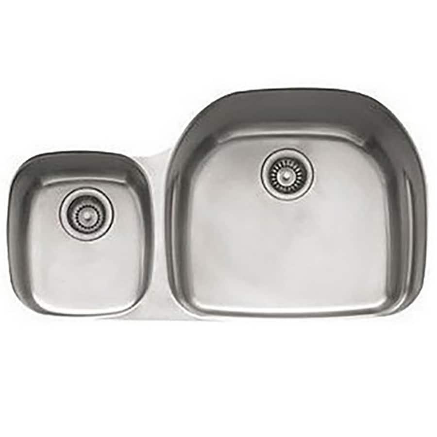 Franke Prestige 20.5-in x 35.625-in Stainless Steel 2 Stainless Steel Undermount (Customizable)-Hole Residential Kitchen Sink