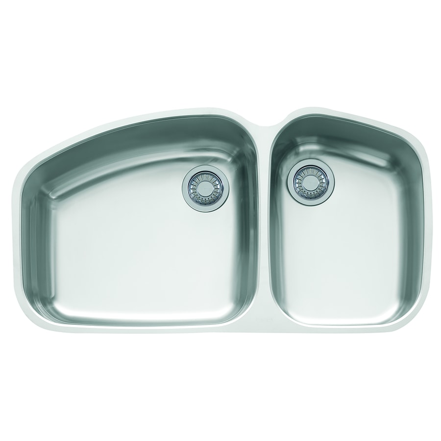 Franke Vision 20.875-in x 38-in Stainless Steel Double-Basin Undermount Residential Kitchen Sink