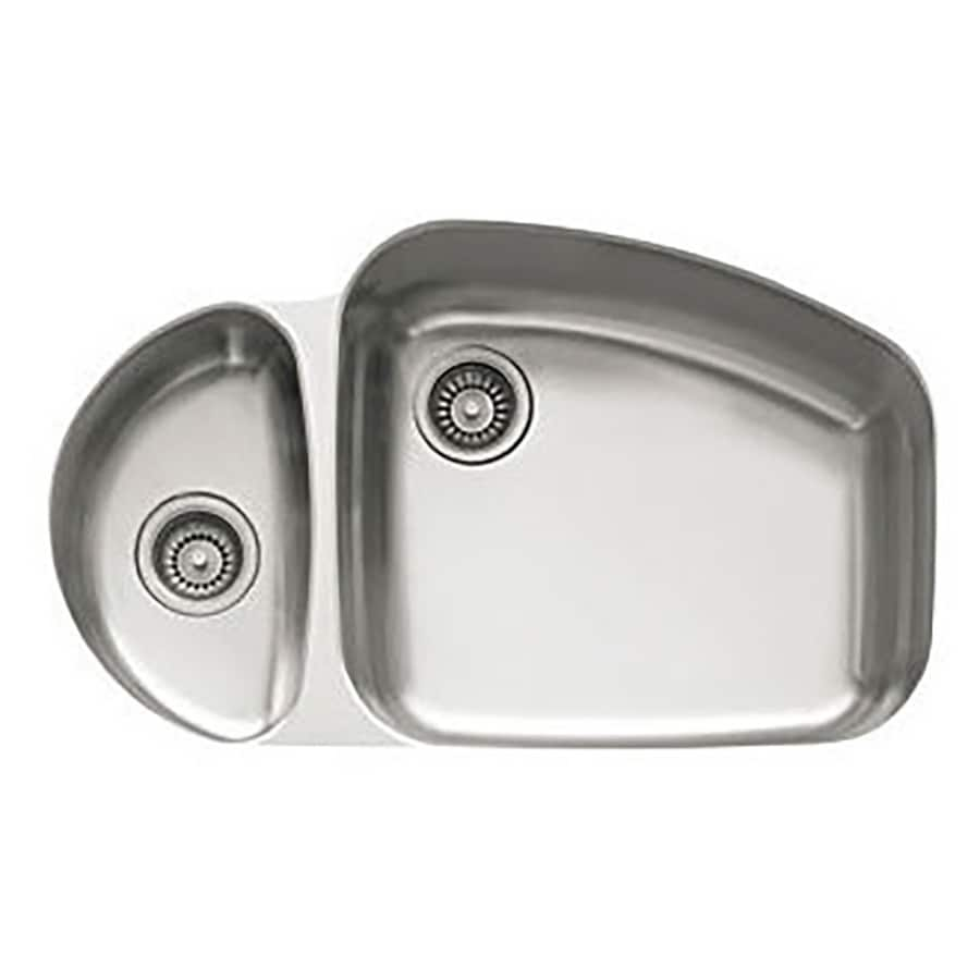 Franke Vision 20.875-in x 33.25-in Double-Basin Stainless Steel Undermount Residential Kitchen Sink