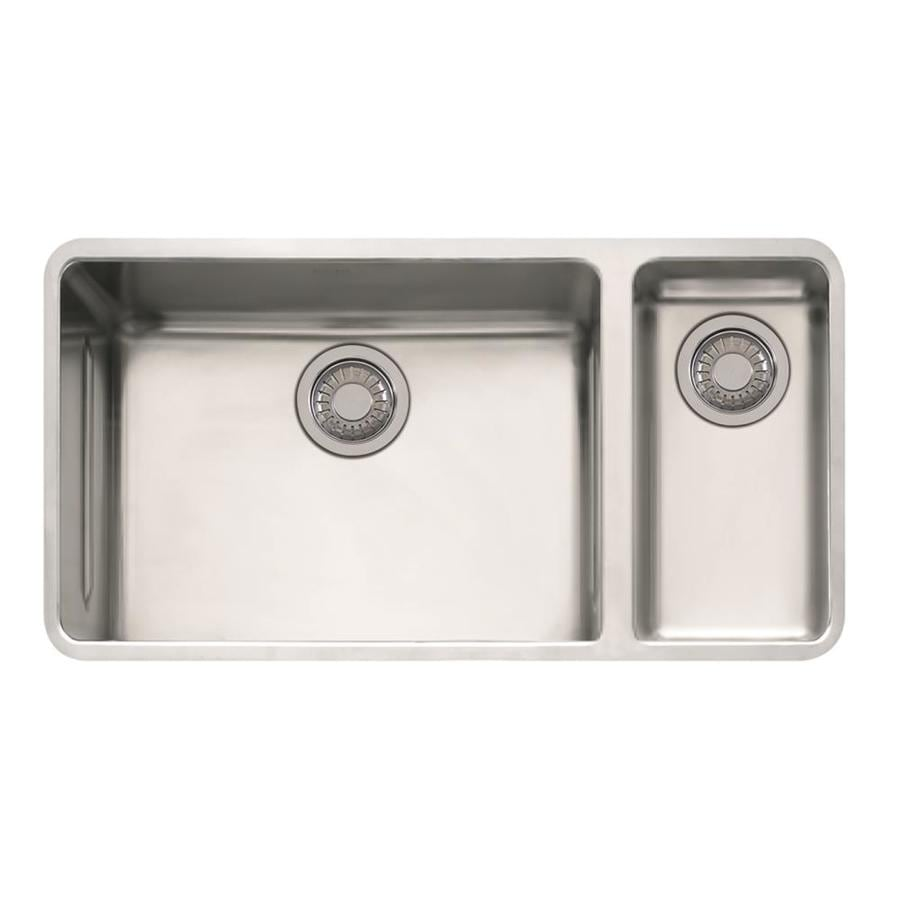Franke Kubus 17.9375-in x 33.0625-in Double-Basin Stainless Steel Undermount Residential Kitchen Sink