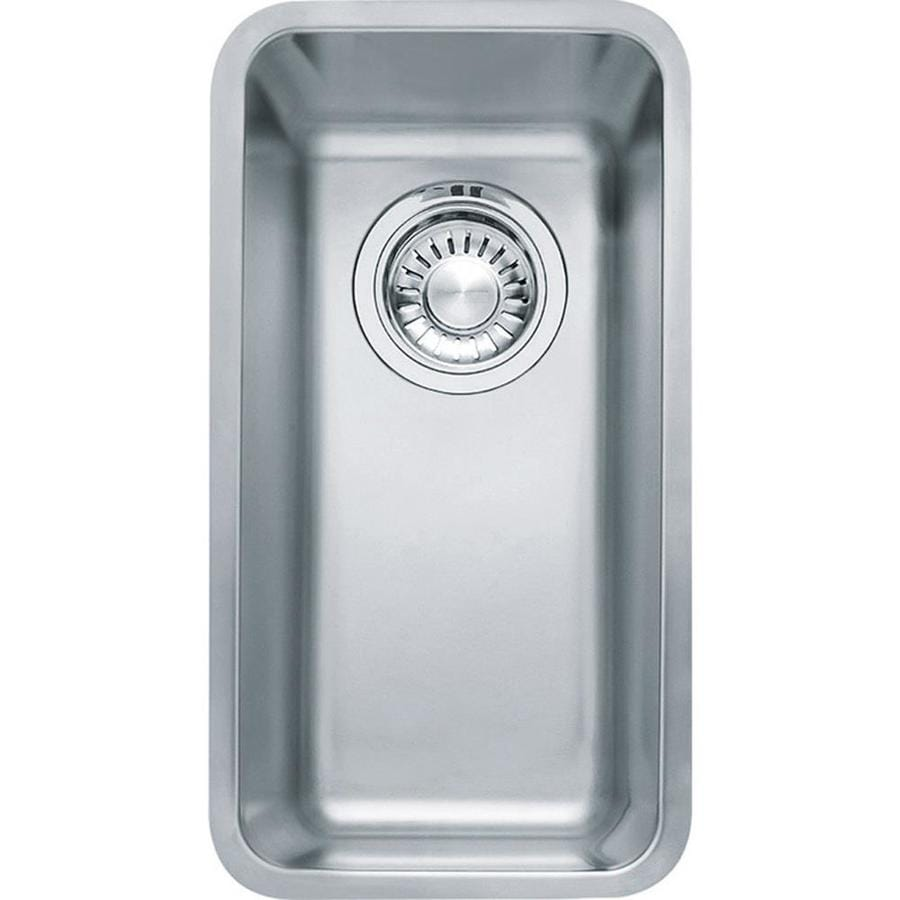 Franke Kubus 16.9375-in x 9.0625-in Stainless Steel Single-Basin-Basin Stainless Steel Undermount (Customizable)-Hole Residential Kitchen Sink