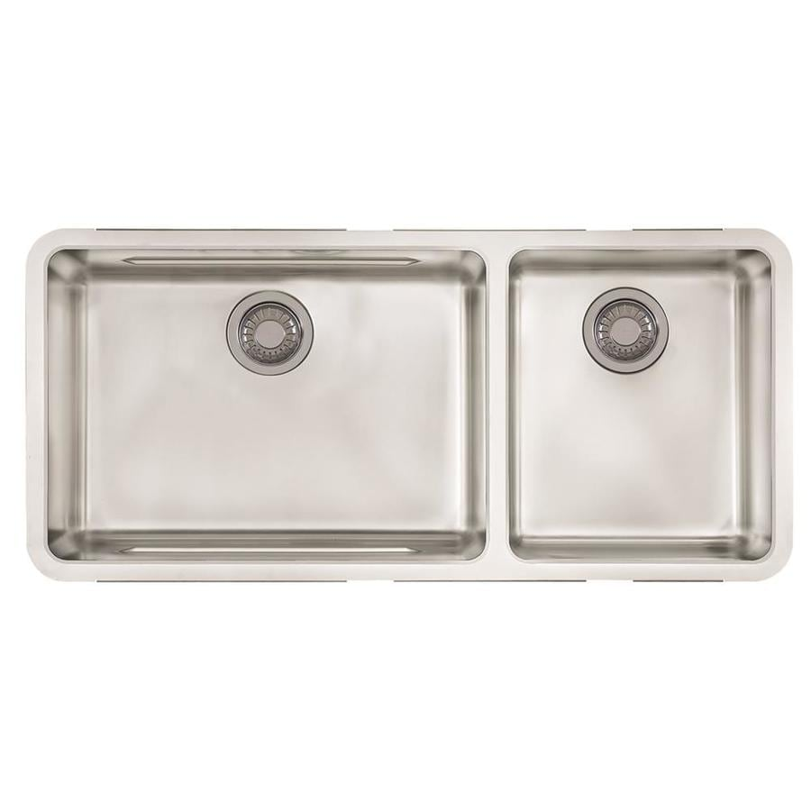 Franke Kubus 17.9375-in x 39-in Double-Basin Stainless Steel Undermount Residential Kitchen Sink