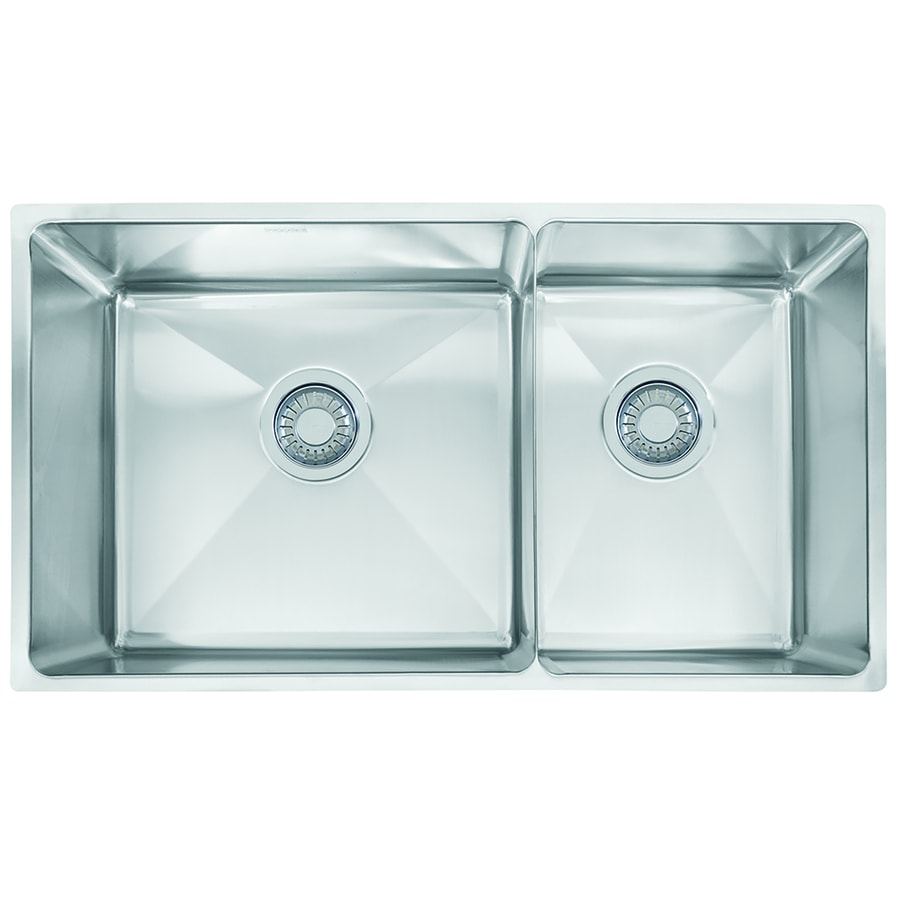 Franke Professional 17.625-in x 31.375-in Double-Basin Stainless Steel Undermount Commercial Kitchen Sink