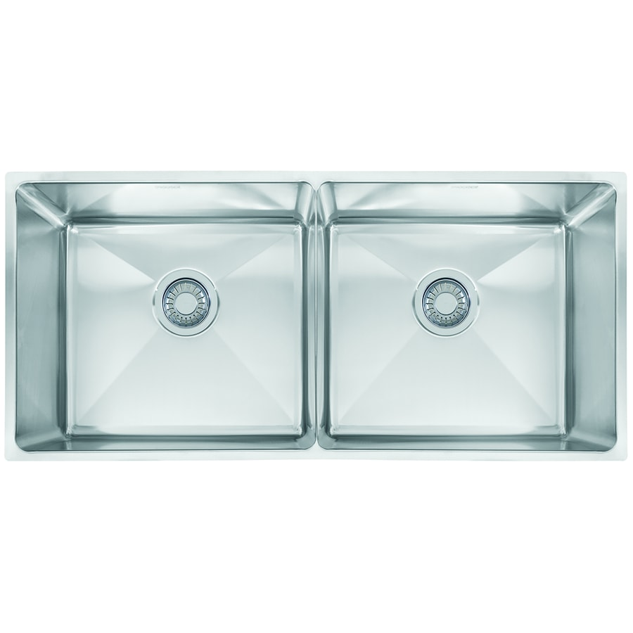 Franke Professional 17.625-in x 34.75-in Double-Basin Stainless Steel Undermount Commercial Kitchen Sink