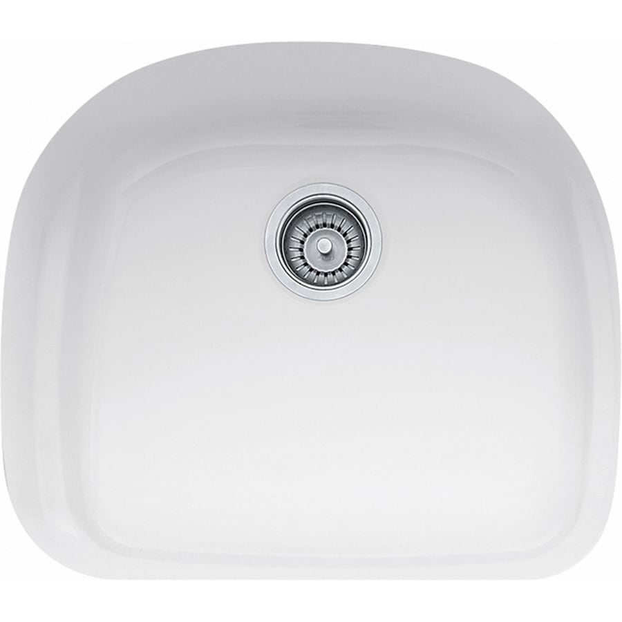 Franke Prestige 20.5-in x 23.375-in White Single-Basin-Basin Fireclay Undermount (Customizable)-Hole Residential Kitchen Sink