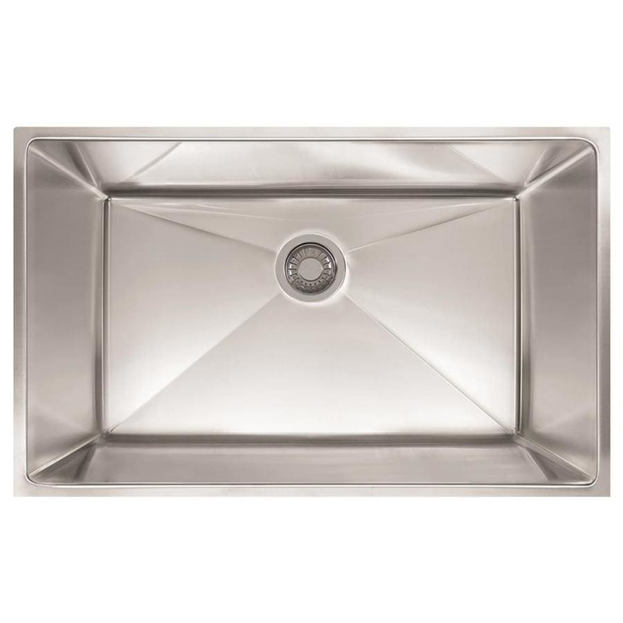 Franke Planar 8 18.5-in x 32.5-in Stainless Steel Single-Basin-Basin Stainless Steel Undermount (Customizable)-Hole Residential Kitchen Sink