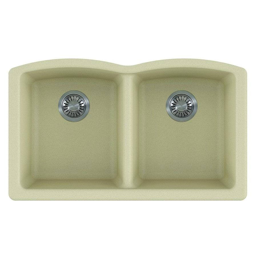Kitchen Sink 19 X 33: Franke Ellipse 33-in X 19.75-in Champagne Double-Basin