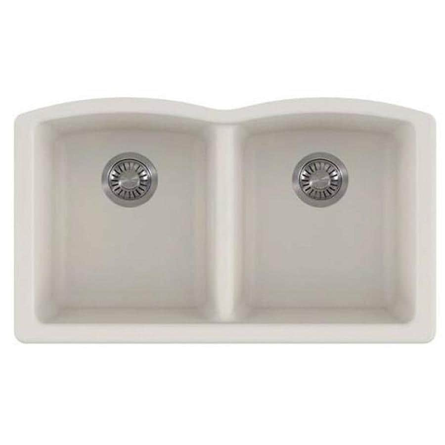 Kitchen Sink 19 X 33: Franke Ellipse 33-in X 19.75-in Vanilla Double-Basin