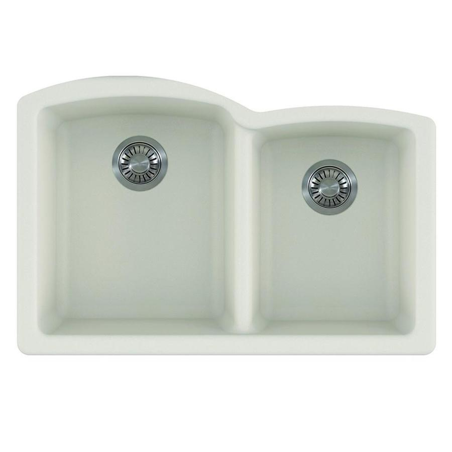 Shop Franke Ellipse 33-in x 21.75-in Vanilla Double-Basin Granite ...