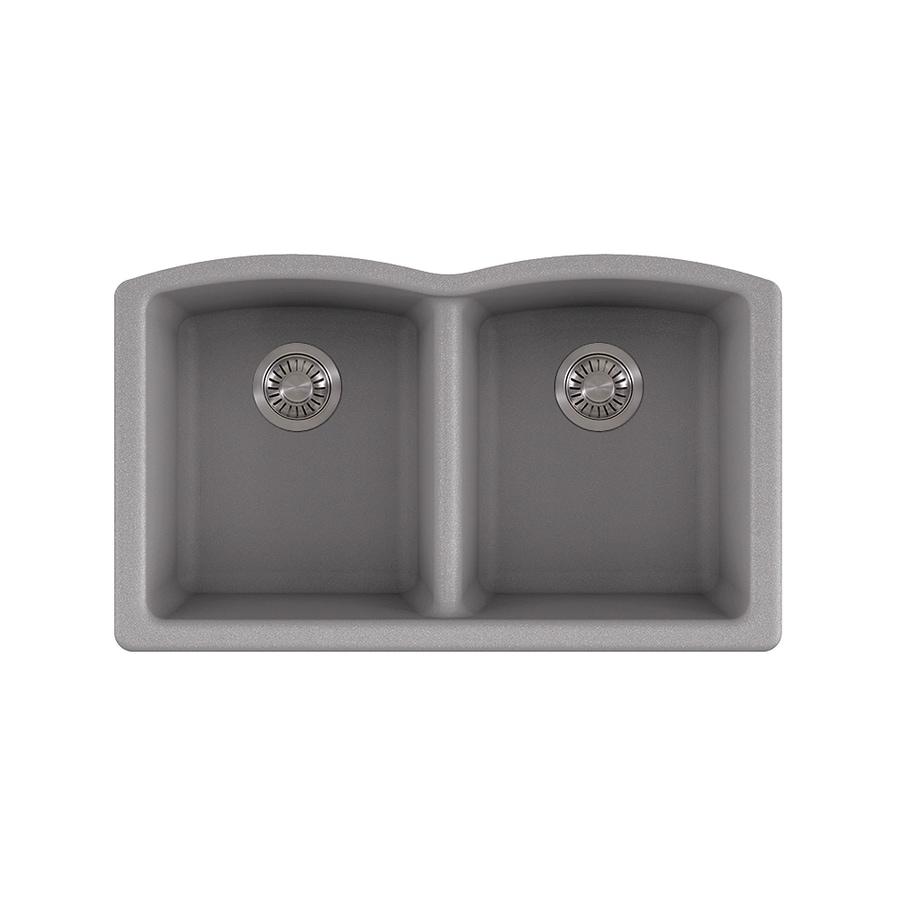 Kitchen Sink 19 X 33: Franke Ellipse 33-in X 19.75-in Shadow Grey Double-Basin