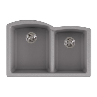 Ellipse 33 In X 21 75 In Shadow Grey Double Basin Undermount Commercial Residential Kitchen Sink