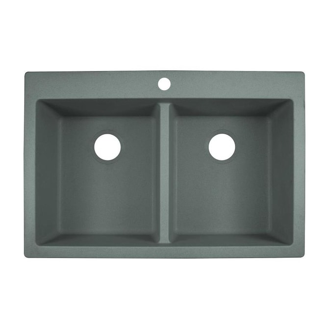 Franke Primo Dual Mount 33 In X 22 In Shadow Grey Double Equal Bowl 1 Hole Kitchen Sink In The Kitchen Sinks Department At Lowes Com
